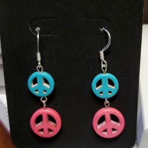 Pink and Turquoise colored earings w/ silver tone